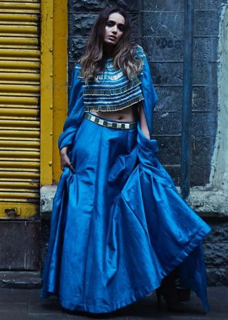Ampora blue lehegna with fancy cape blouse only on Kalki