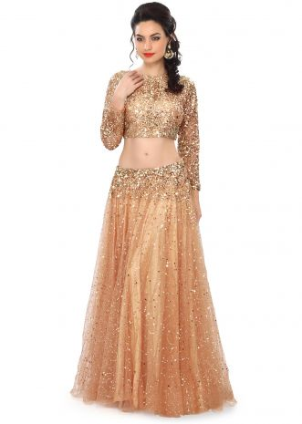 Gold lehenga embellished in sequin embroidery only on Kalki