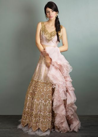 Cut dana embroidered raw silk blouse and lehenga with ruffled organza dupatta