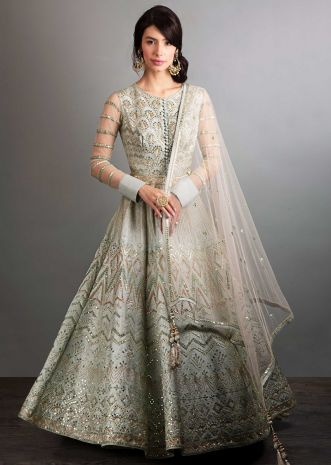 Fern green anarkali gown in resham , cut dana, mirror, and sequins embroidery