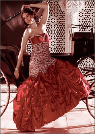 Red gown with diamond embroidery by Kalki