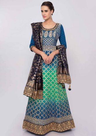 Admiral blue and green shaded crushed bandhani anarkali only on Kalki