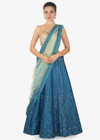 Admiral blue lehenga in digital print and sequin work only on Kalki
