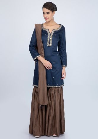 Admiral blue mirror embroidered suit with brown sharara suit and dupatta only on Kalki
