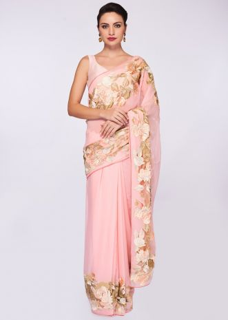 Baby pink georgette saree with net embroidered border