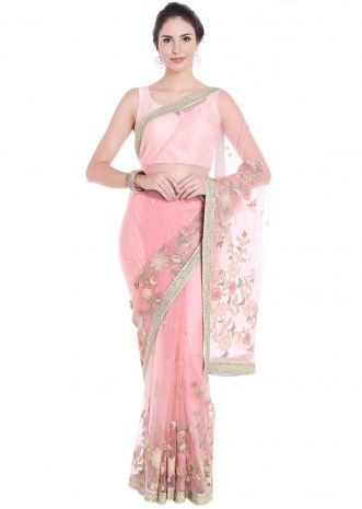 Baby pink net saree adorn in thread floral jaal motif all over only on Kalki