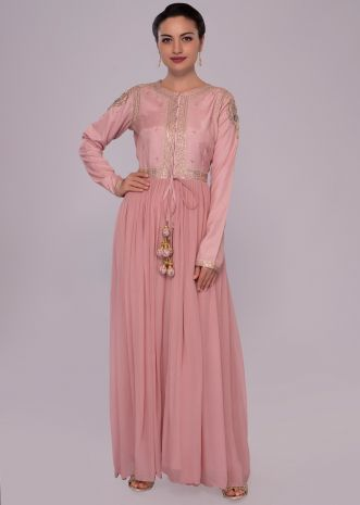 Ballet pink long kurti with front slit and center tie up