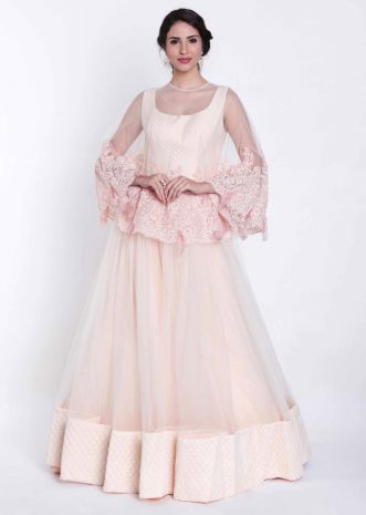 e36bddddba79 Beach pink gown with embroidered cape net only on Kalki ...