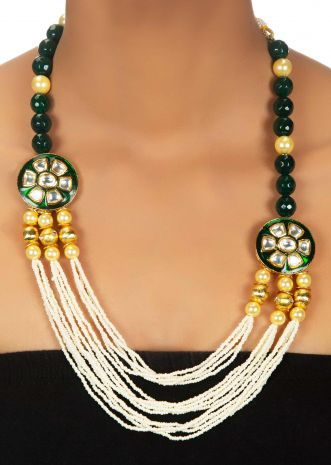 Bead and pearl necklace in kundan work with nano moti layers
