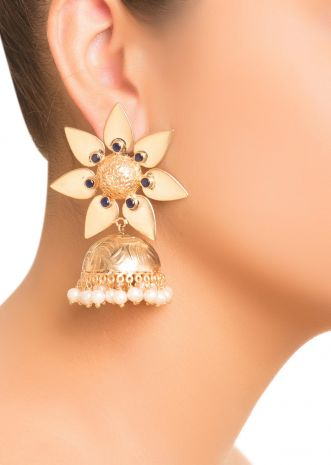 Beaten Gold Floral Jhumkis- Black