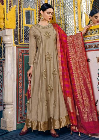 Beige anarkali suit in silk with cod zari and sequin embroidery