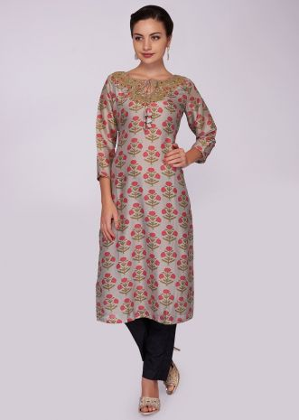 Beige cotton silk kurti with floral printed butti