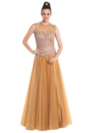 Beige net gown embellished with code thread work only on Kalki