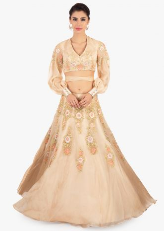 Beige organza lehenga paired with a matching blouse in tie up strap from the wais
