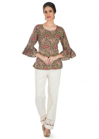 Bell Sleeved Cotton Top Featuring Multi-Colored Kalamkari Prints only on Kalki