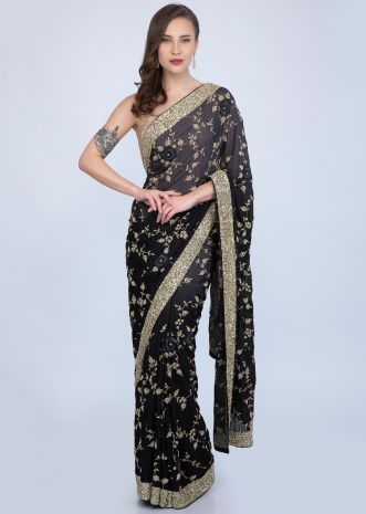 f4b217674 Black and grey shaded heavy embroidered satin chiffon saree only on Kalki  ...
