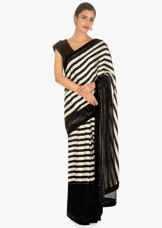 Black and white stripes satin and net saree