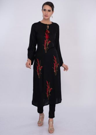 Black cotton kurti in thread embroidered butti only on Kalki