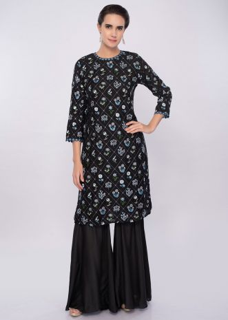 Black cotton sharara suit in floral resham embroidery only on Kalki