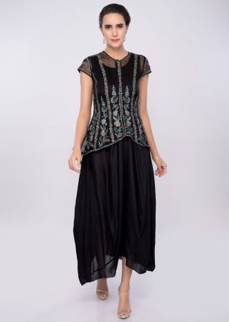 Black cotton tunic with gathers paired with additional organza jacket only on Kalki