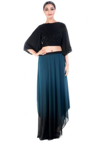 Black Croptop & Sapphire Blue Draped Skirt