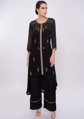 Black embroidered georgette suit with black satin pant only on Kalki