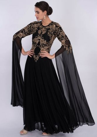Black embroidered gown with long flared sleeves only on Kalki