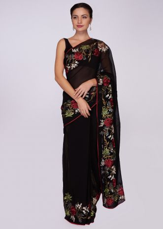 Black georgette saree in floral embroidery