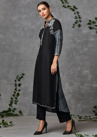 Black raw silk suit set floral and checks  print