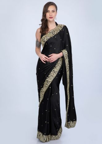 64582fc550 Black satin chiffon saree with heavy cut dana embroidered border only on  Kalki