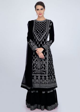 Black sharara suit set with embroidery and butti only on Kalki