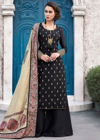 Black straight palazzo suit with beige silk dupatta