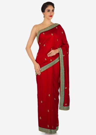 Blood red saree in cotton silk with zardosi and cut dana embroidery only on Kalki