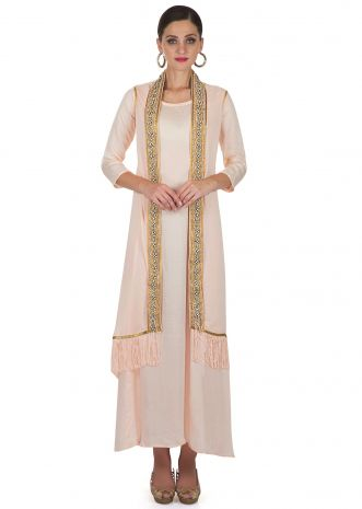 Blush Peach Cotton Dress with Long Jacket Featuring Embroidery and Tassels only on Kalki