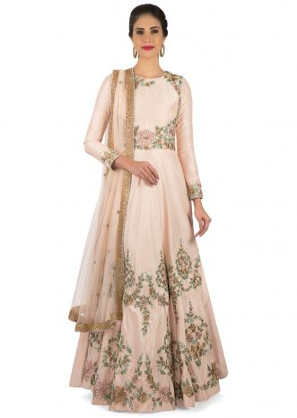 Blush pink anarkali suit adorn in embroidered bodice and hem only on Kalki