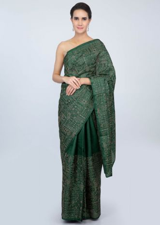 Bottle green tussar silk saree with thread embroidered  lower bottom and pallo only on kalki