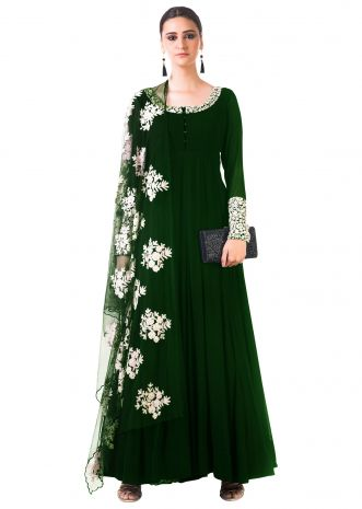 Bottle Green Ari Dress with Ari work net Dupatta
