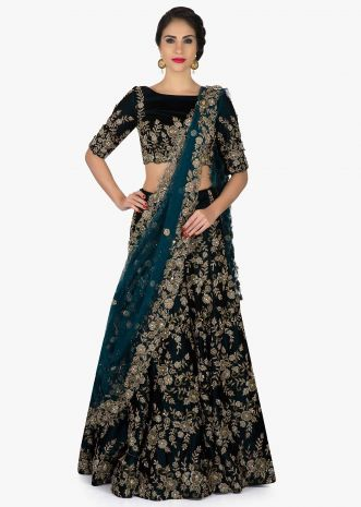 Bottle green lehenga with ready blouse in zardosi and cut dana only on Kalki