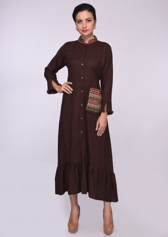 Brown cotton tunic with embroidered collar and  pocket