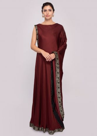 Brown fancy kaftan tunic dress