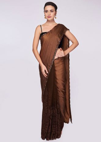 Brown shaded half and half saree in net and satin in chord and kundan embroidery