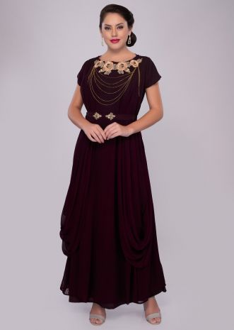 Burgundy georgette gown with pleats and side cowl drape