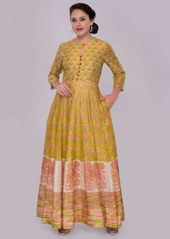 Butter yellow cotton tunic dress with floral printed butti