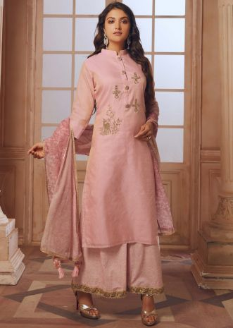 Candy pink straight palazzo suit with embroidered butti and fancy buttons