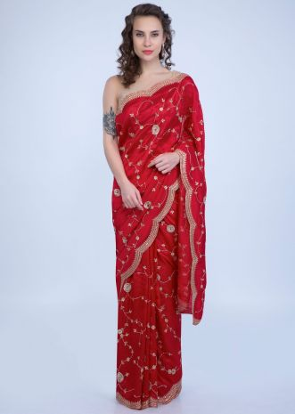 bb84502fe Candy red dupion saree with floral jaal embroidery and scallop embroidered  border only on Kalki ...