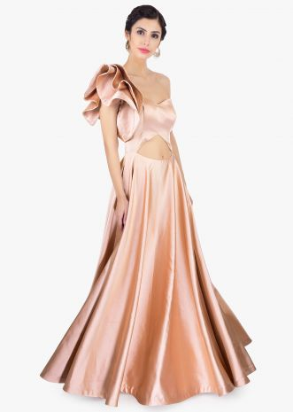 Caramel beige one shoulder milano satin gown with 3 D floral styleCaramel beige one shoulder milano satin gown with 3 D floral style