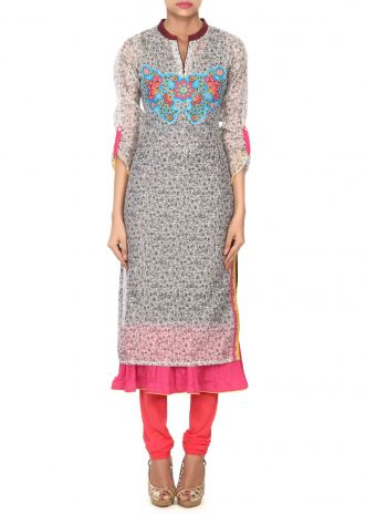 Cream and black applique embroidered kurti only on Kalki