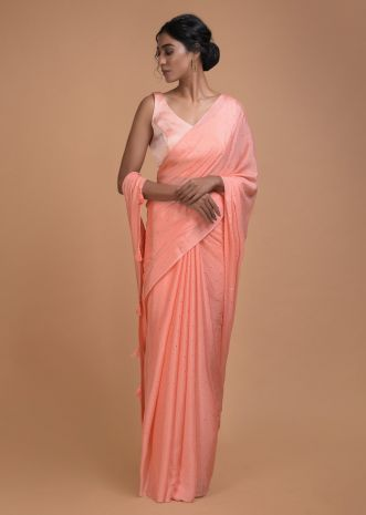 Charisma Peach Saree In Chiffon With Badla Work All Over Online - Kalki Fashion