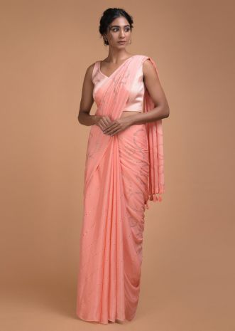 Charisma Peach Saree In Chiffon With Badla Work In Diagonal Stripes And Round Motifs Online - Kalki Fashion