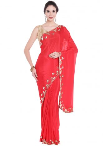 Cherry red saree in cut dana embroidered border only on Kalki